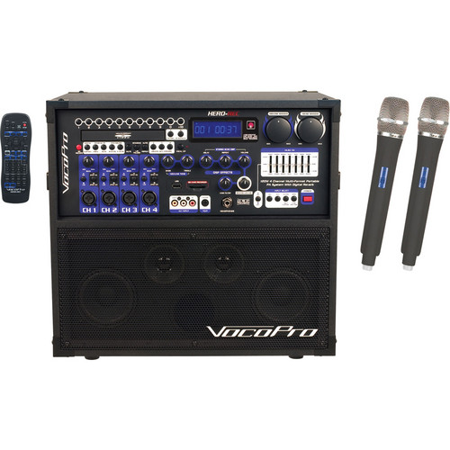 VocoPro HERO-REC 5 120W 4-Channel Multi-Format Portable P.A. System with Digital Recorder & 2 UHF Wireless Mics (676.74 MHz, 614.15 MHz)