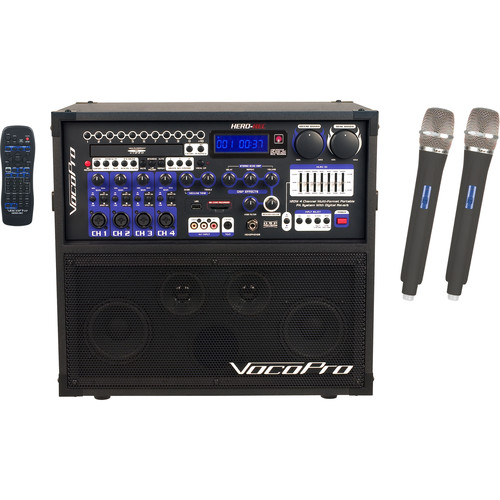 VocoPro Hero-Rec-9 120W 4-Channel Multi-Format Portable P.A. System with UHF Wireless Microphones