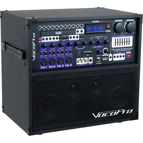 VocoPro HERO-REC Basic 120W 4-Channel Multi-Format Portable P.A. System with Digital Recorder & 2 Wired Mics