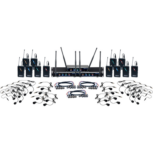 VocoPro Digital-Play-12 12-Channel UHF Digital System with Headset & Lavalier Mics (900 MHz)