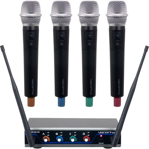 VocoPro Quad H1 UHF Hybrid Wireless Handheld Microphone System