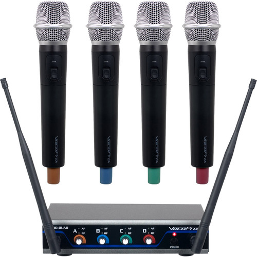 VocoPro Digital-Quad-H4 Four-Channel UHF Wireless Handheld Microphone System (915 to 927.2 MHz)