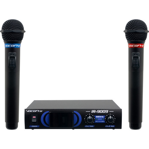 VocoPro IR-9009 Infrared Dual Wireless Microphone System (Red/Blue)