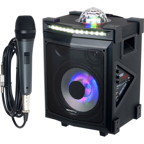 VocoPro LightShow Magic Portable Bluetooth 100W PA System with Built-In Light Show