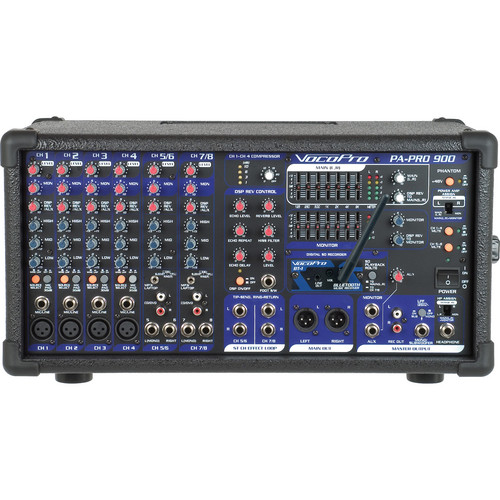 VocoPro PA-PRO-900 BT Professional PA Mixer with Bluetooth Receiver (900W)