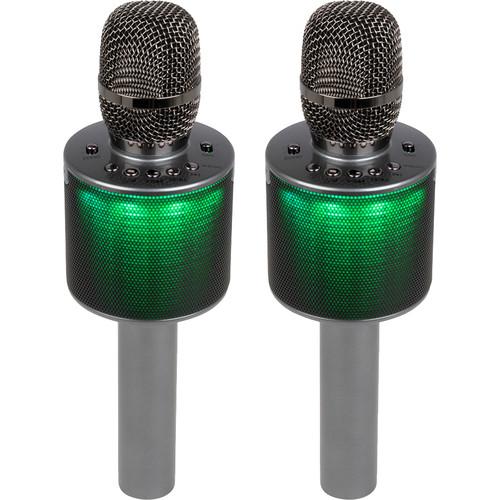 VocoPro Pop-Up Oke Dual Wireless Karaoke Microphone with Light Show Speaker (Twin Pack)