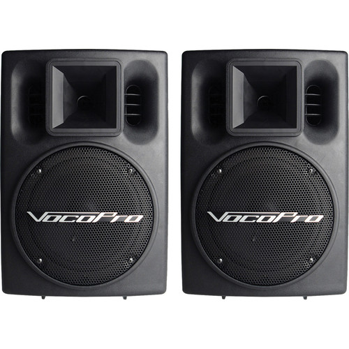 VocoPro PV-802 400W Powered Vocal Speaker System with Built-In Equalizer (Pair)