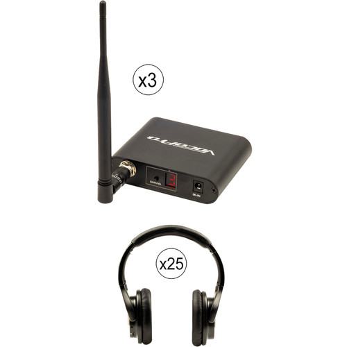 VocoPro Silent Disco Package with 3 Transmitters and 25 Wireless LED Headphones
