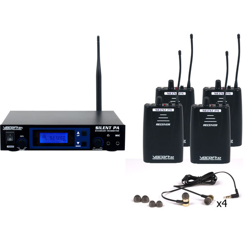 VocoPro Professional PLL Wireless In-Ear Monitor Package with Stationary Transmitter & Four Receivers