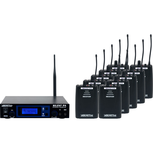 VocoPro SilentPA 16-Channel UHF Wireless Audio Broadcast System (Stationary Transmitter & 10 Bodypack Receivers)