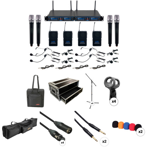 VocoPro UDH-4-Ultra 4-Channel Wireless Mic System with Handheld, Headset & Lav Mics, and Stage Accessories Kit (900 MHz)