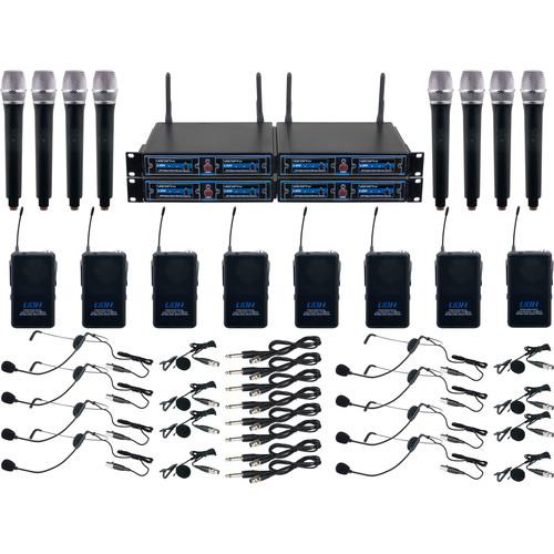 VocoPro UDH-8-Ultra Eight Channel UHF System with Handheld Mics, Bodypack with Headsets & Lav Mics