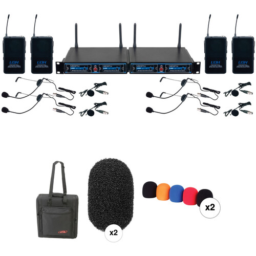 VocoPro UDH-Play 4 Four-Channel UHF Headset and Lapel Wireless Microphone Kit