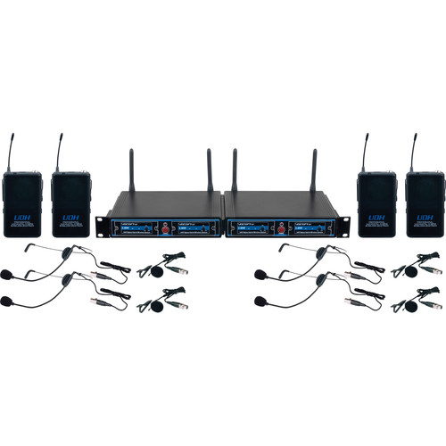 VocoPro UDH-PLAY 4 - Four-Channel UHF Headset and Lapel Wireless Microphone Package