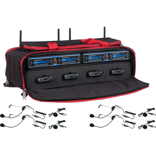 VocoPro UDH-PLAY-4-MIB 4-Channel Wireless Headset/Lavalier Microphone System in a Bag (Frequency Bands: B1, B2)