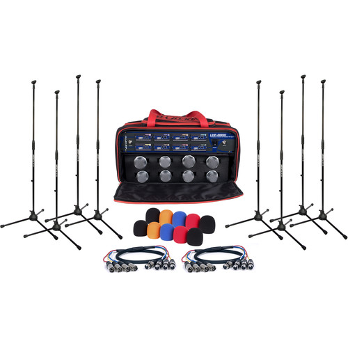 VocoPro UHF-8800-XL - 8-Channel UHF Wireless Handheld Microphone System with XLR Cables, Mic Stands, and Carrying Bag (Band: 900 MHz)