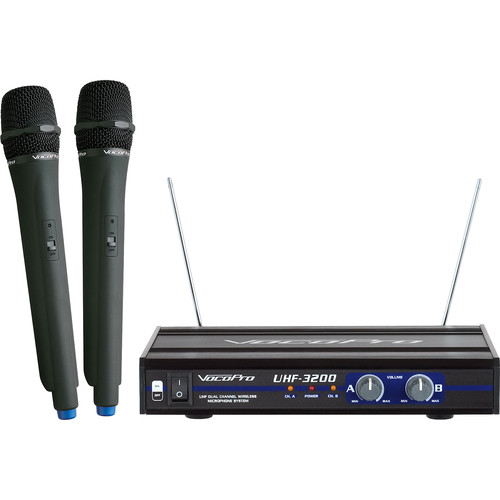VocoPro UHF-3200-10 UHF Dual-Channel Wireless Microphone System (9M/9N: 915.0/918.7 MHz)