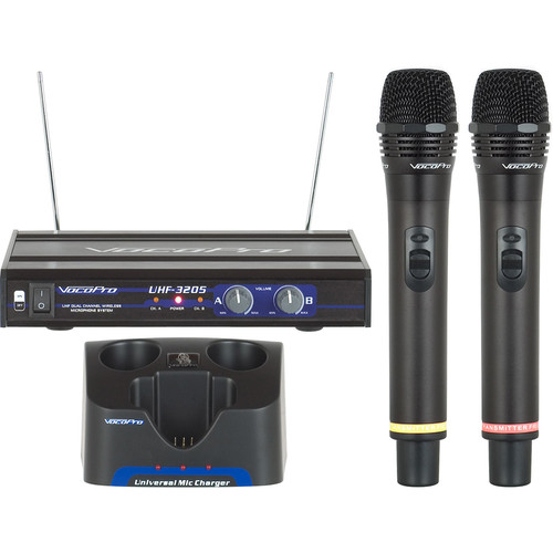 VocoPro UHF-3205-10 UHF Dual-Channel Rechargeable Wireless Microphone System