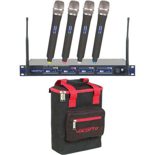 VocoPro UHF-5800-10 PRO 4-Channel UHF Wireless Handheld Microphone System (913.3 to 925.8 MHz)