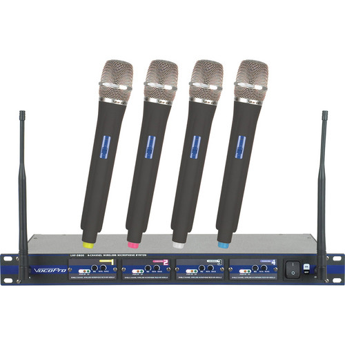 VocoPro UHF-5800-8 Professional 4-Channel UHF Wireless Microphone System (Channel 35, 36, 42, 43)