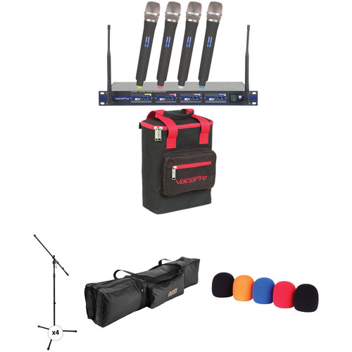 VocoPro UHF-5800-9 PRO 4-Channel Wireless Handheld Microphone System with Stands and Bag Kit (902.0 to 910.7 MHz)