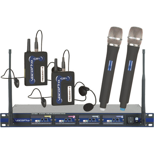 VocoPro UHF-5800 PRO HB 4-Channel UHF Wireless Microphone System