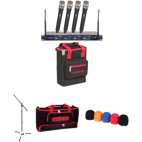 VocoPro UHF-5800 PRO 4-Channel UHF Wireless Kit with Handheld Mics, Stands, and Windscreens