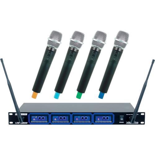 VocoPro UHF-5808-5 Professional Rechargeable Quad UHF Wireless Microphone System (Frequency Set 5: E, F, G, H)