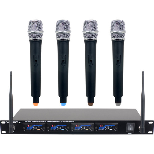 VocoPro UHF-5816-T2 4-Channel UHF Wireless Microphone System with Channel 2 Pre-Tuned