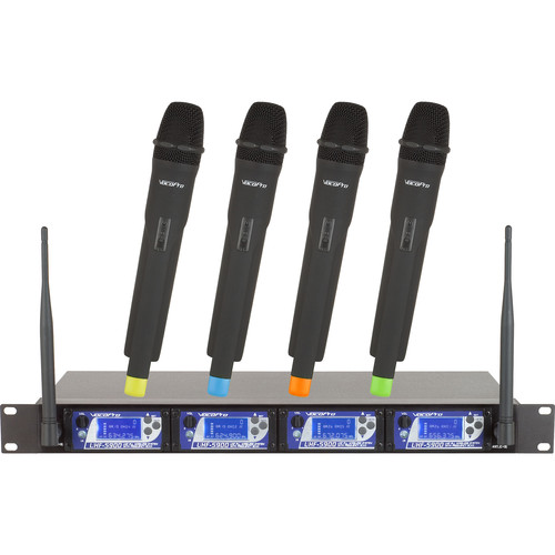 VocoPro UHF-5900-9 4-Channel UHF PLL Wireless Mic System with Frequency Scan (900 MHz)