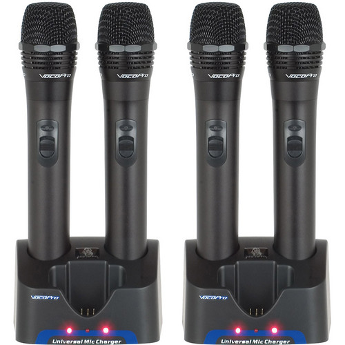 VocoPro 4 UHF Handheld Rechargeable Microphones with 2 Charging Stations (QRST Frequency)
