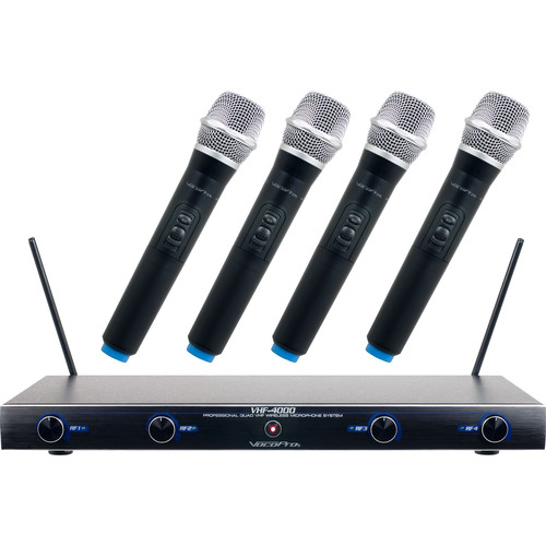 VocoPro VHF-4000-2 Professional Quad VHF Wireless Microphone System