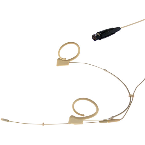 Voice Technologies VT DUPLEX Omni Headset Microphone with TA5F Connector for Lectrosonics Transmitters (L/XL, Beige)