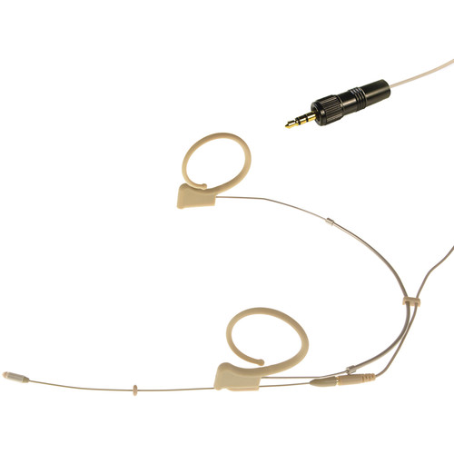 Voice Technologies VT DUPLEX Omni Headset Microphone with 3.5mm TRS Locking Connector for Sony Transmitters (S/M, Beige)