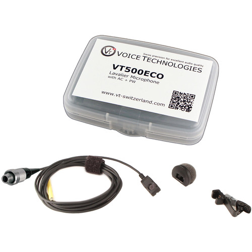 Voice Technologies VT500ECO Omnidirectional Miniature Lavalier Microphone Economy Package (3-Pin Lemo Screw-Locking Connector, Black)