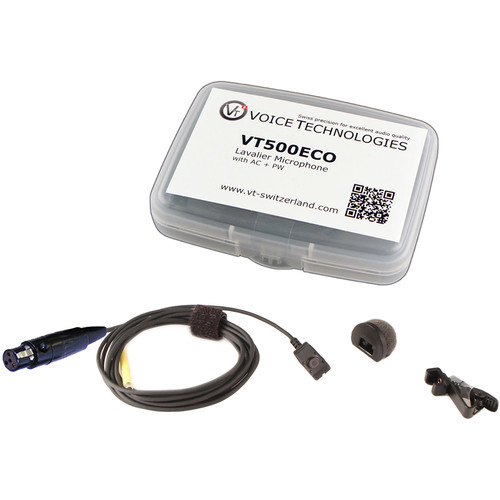 Voice Technologies VT500ECO Omnidirectional Miniature Lavalier Microphone Economy Package (TA4F Connector for Shure, Black)