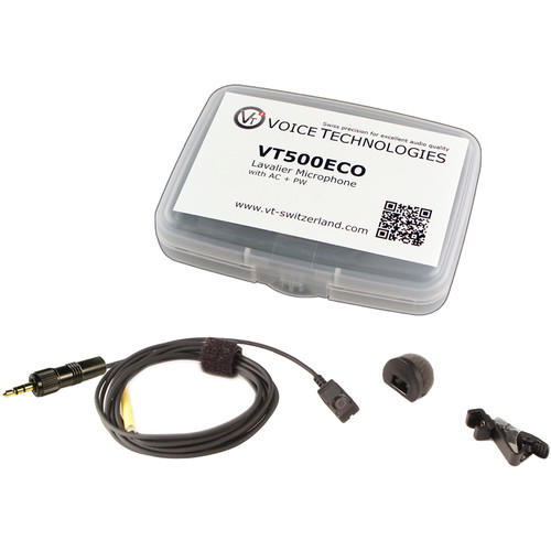 Voice Technologies VT500-ECO Omnidirectional Miniature Lavalier Microphone Economy Package (3.5mm TRS Locking Connector for Sony UWP or WRT-805, Black)
