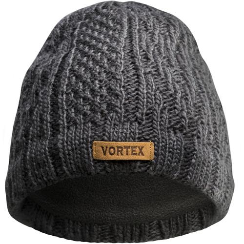 Vortex Gray Knit Beanie with Patch