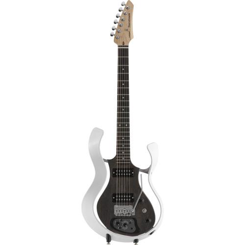 VOX Metallic White Frame Electric Guitar with See-Through Semi-Gloss Black Body