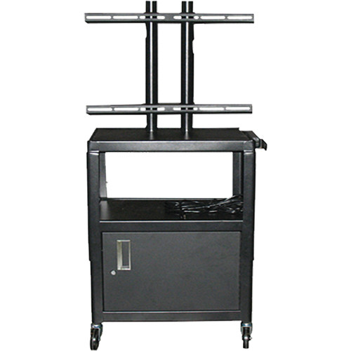 "Vutec Adjustable Flat Panel Cart with Locking Cabinet and Twin Post Design (26 to 42"" Adjustable Height)"