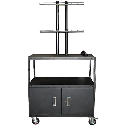"Vutec Wide Body Flat Panel Cart with Locking Cabinet and Pyramid & Twin Post Design (32 x 18"" Shelf Size)"