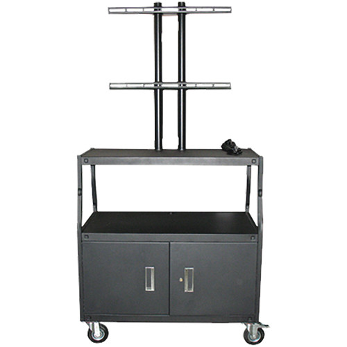 "Vutec Adjustable Flat Panel Cart with Locking Cabinet and Twin Post Design (34 to 54"" Adjustable Height)"