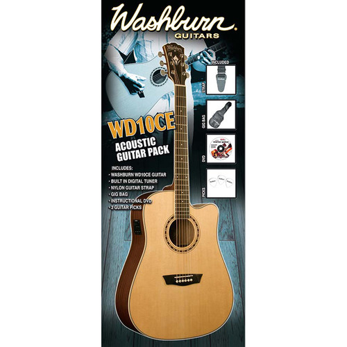 Washburn WD10CE Acoustic/Electric Guitar Pack with Built-In Tuner/Preamp & Accessories