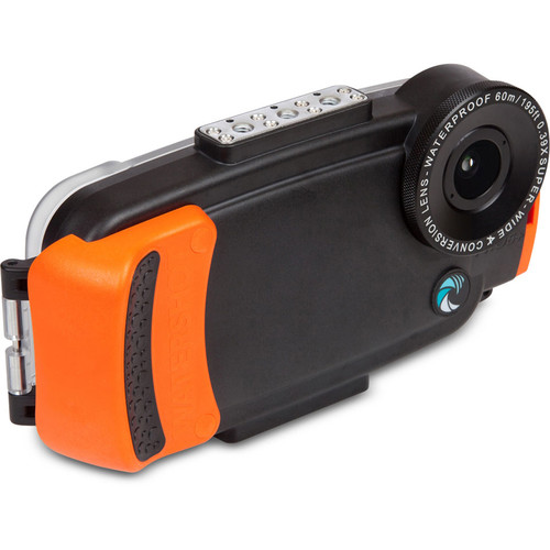 Watershot WSIP6-014 PRO Line Underwater Housing for iPhone 6/6s with Flat Angle Lens Port (Black/Orange)
