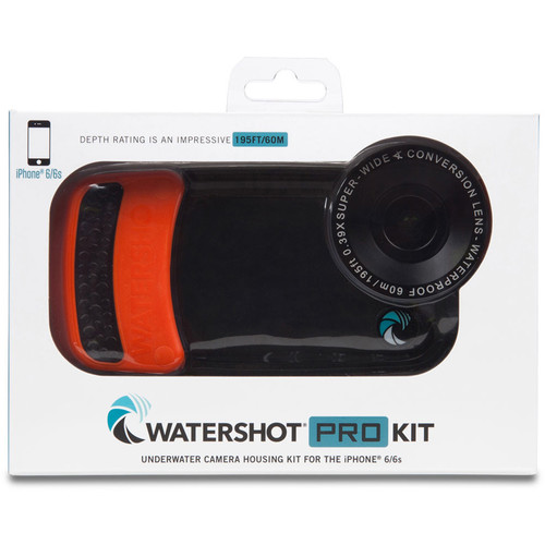 Watershot WSIP6-024 PRO Line Underwater Housing for iPhone 6/6s with Flat Angle Lens Port (Black/Orange)