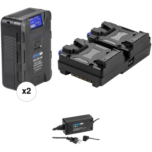 Watson 2 x 50Wh Micro V-Mount Battery Kit with V-Mount Adapter & Charger
