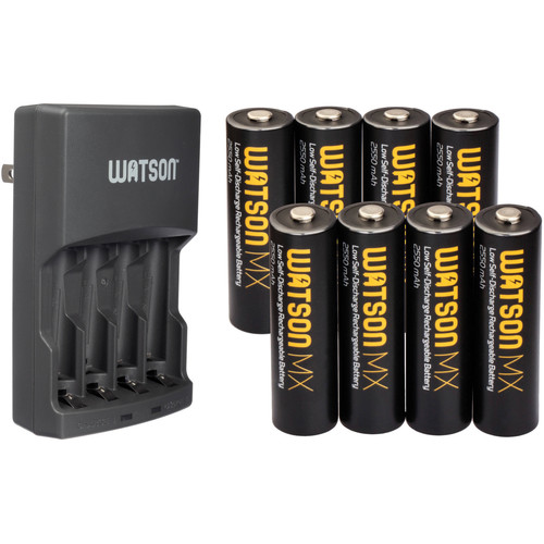 Watson Rapid Charger and 8-Pack of MX AA NiMH Batteries Kit