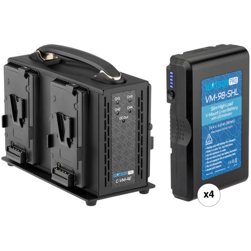 Watson Pro 4 x High-Draw 98Wh Slim Batteries & Simultaneous Quad Charger V-Mount Kit