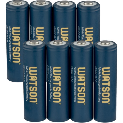Watson AA NiMH Rechargeable Batteries (2500mAh, 1.2V, 8-Pack)
