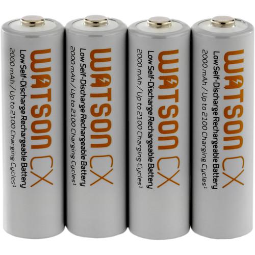 Watson CX AA Rechargeable NiMH Batteries (1.2V, 2000mAh, 4-Pack)